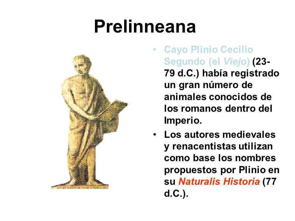 Prelinneana Cayo Plinio Cecilio Segundo (el Viejo) (23- 79 d.C.) había registrado un gran número de animales conocidos de los romanos dentro del Imper