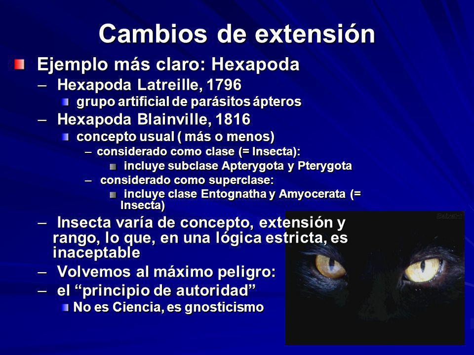Cambios de extensión Ejemplo más claro: Hexapoda Ejemplo más claro: Hexapoda – Hexapoda Latreille, 1796 grupo artificial de parásitos ápteros grupo ar