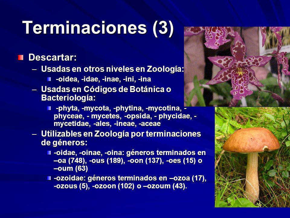 Terminaciones (3) Descartar: –Usadas en otros niveles en Zoología: -oidea, -idae, -inae, -ini, -ina -oidea, -idae, -inae, -ini, -ina –Usadas en Código