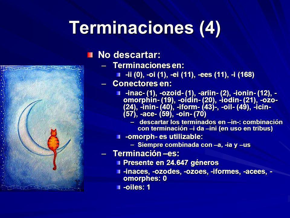 Terminaciones (4) No descartar: – Terminaciones en: -ii (0), -oi (1), -ei (11), -ees (11), -i (168) -ii (0), -oi (1), -ei (11), -ees (11), -i (168) –
