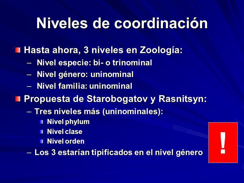 Niveles de coordinación Hasta ahora, 3 niveles en Zoología: – Nivel especie: bi- o trinominal – Nivel género: uninominal – Nivel familia: uninominal P