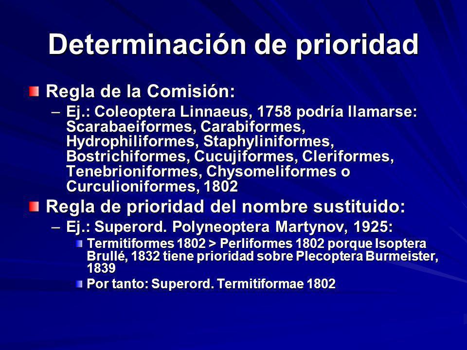 Determinación de prioridad Regla de la Comisión: –Ej.: Coleoptera Linnaeus, 1758 podría llamarse: Scarabaeiformes, Carabiformes, Hydrophiliformes, Sta