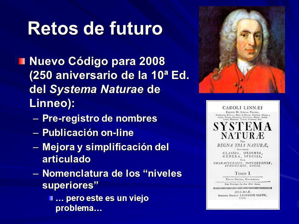 Retos de futuro Nuevo Código para 2008 (250 aniversario de la 10ª Ed. del Systema Naturae de Linneo): –Pre-registro de nombres –Publicación on-line –M