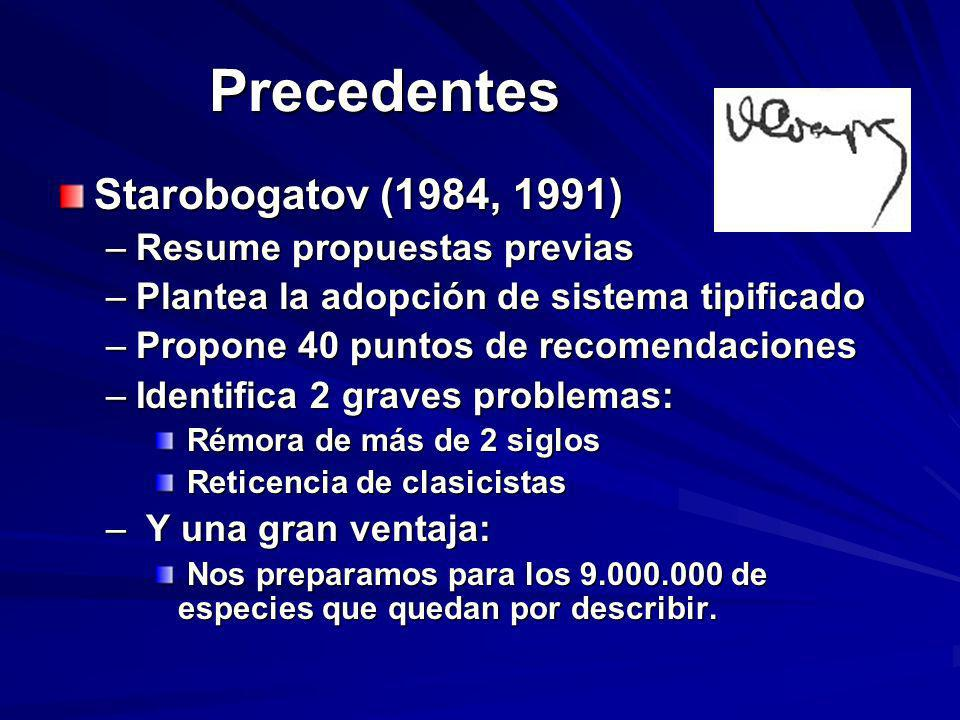 Precedentes Starobogatov (1984, 1991) –Resume propuestas previas –Plantea la adopción de sistema tipificado –Propone 40 puntos de recomendaciones –Ide
