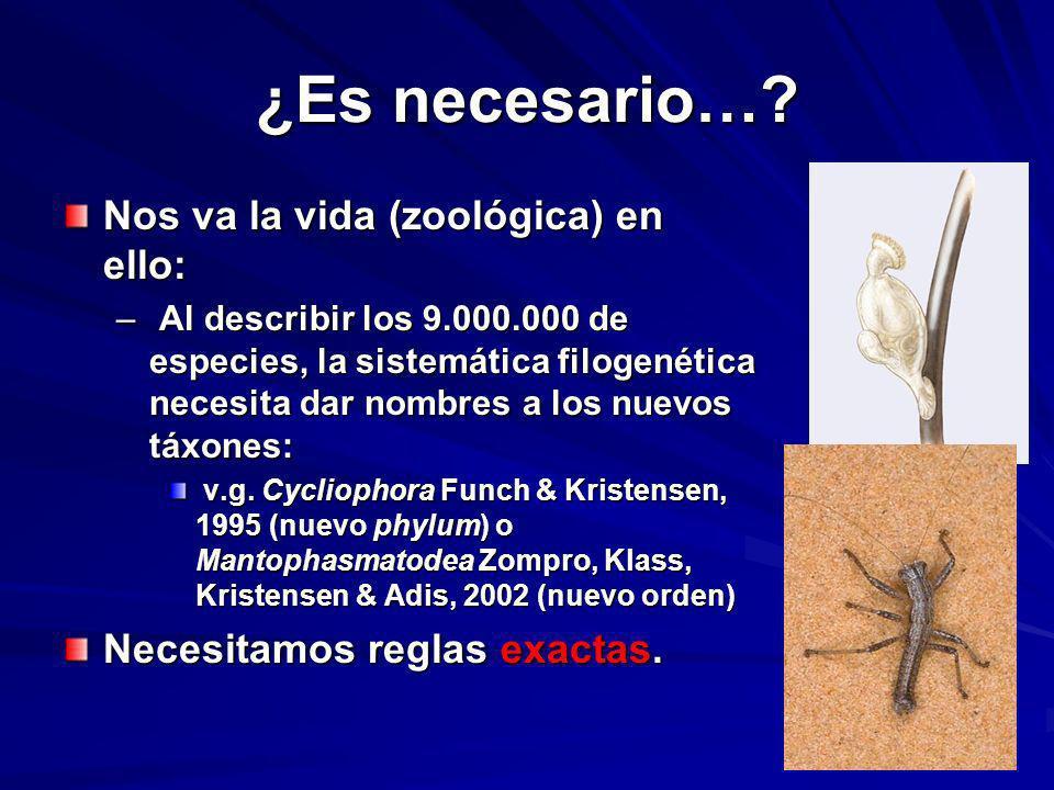 ¿Es necesario…? Nos va la vida (zoológica) en ello: – Al describir los 9.000.000 de especies, la sistemática filogenética necesita dar nombres a los n