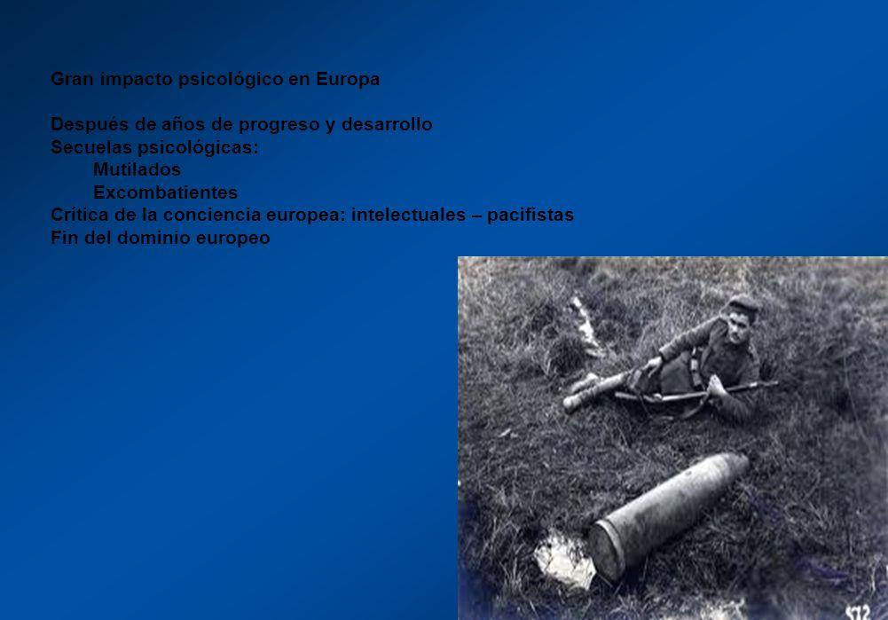 Gran impacto psicológico en Europa Después de años de progreso y desarrollo Secuelas psicológicas: Mutilados Excombatientes Crítica de la conciencia e