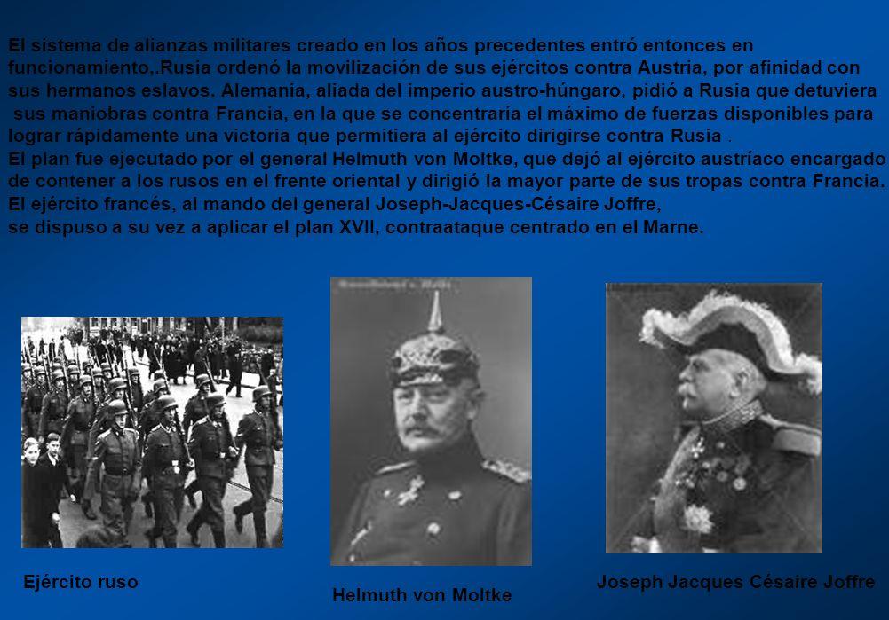 El sistema de alianzas militares creado en los años precedentes entró entonces en funcionamiento,.Rusia ordenó la movilización de sus ejércitos contra