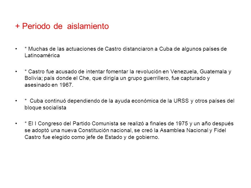 + Periodo de aislamiento * Muchas de las actuaciones de Castro distanciaron a Cuba de algunos países de Latinoamérica * Castro fue acusado de intentar