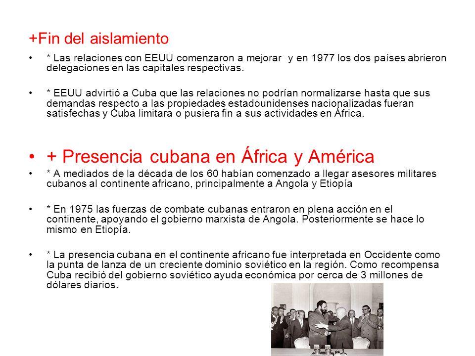 +Fin del aislamiento * Las relaciones con EEUU comenzaron a mejorar y en 1977 los dos países abrieron delegaciones en las capitales respectivas. * EEU