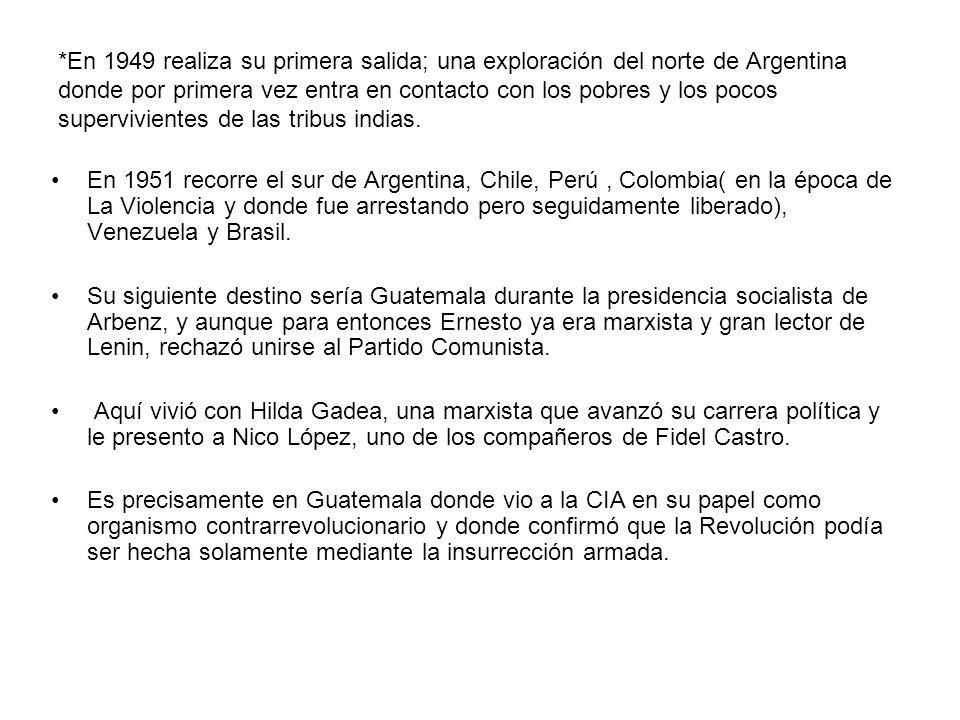 * Tras la caída de la presidencia de Arbenz, Guevara se dirige a Ciudad de México e inicia su actividad política.