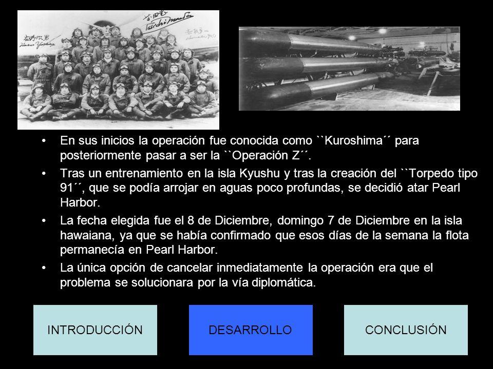 En sus inicios la operación fue conocida como ``Kuroshima´´ para posteriormente pasar a ser la ``Operación Z´´. Tras un entrenamiento en la isla Kyush