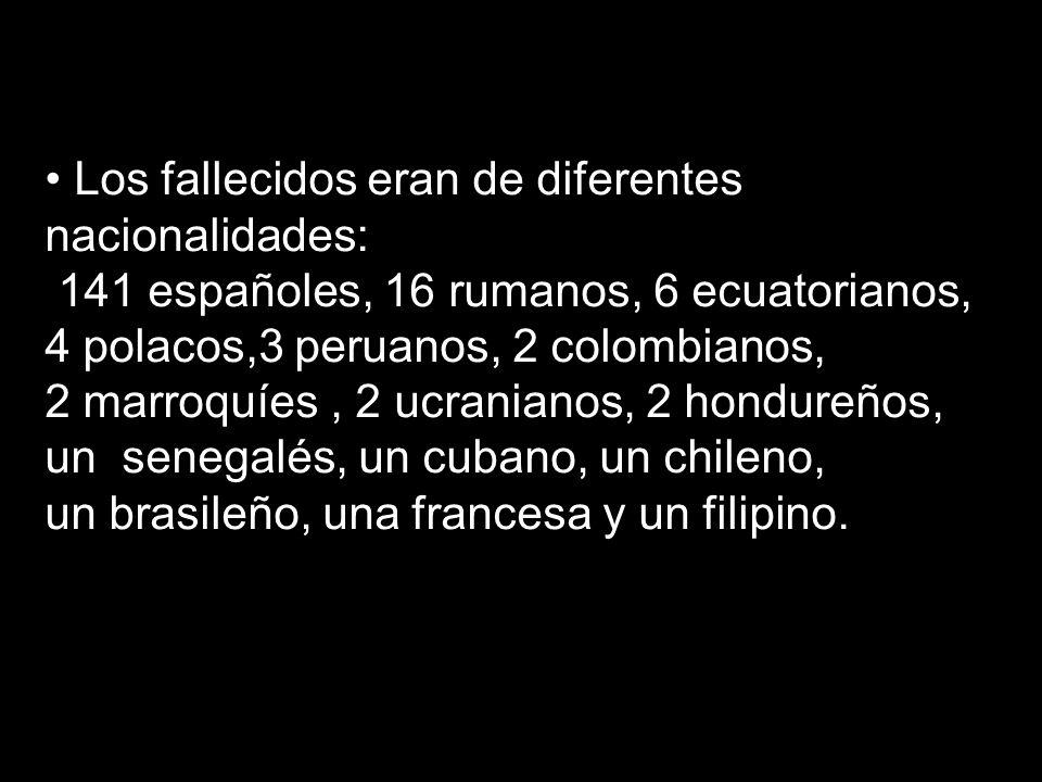 Los fallecidos eran de diferentes nacionalidades: 141 españoles, 16 rumanos, 6 ecuatorianos, 4 polacos,3 peruanos, 2 colombianos, 2 marroquíes, 2 ucra