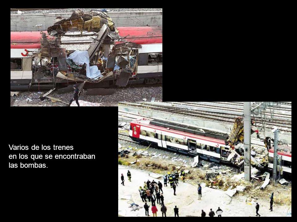 Varios de los trenes en los que se encontraban las bombas.