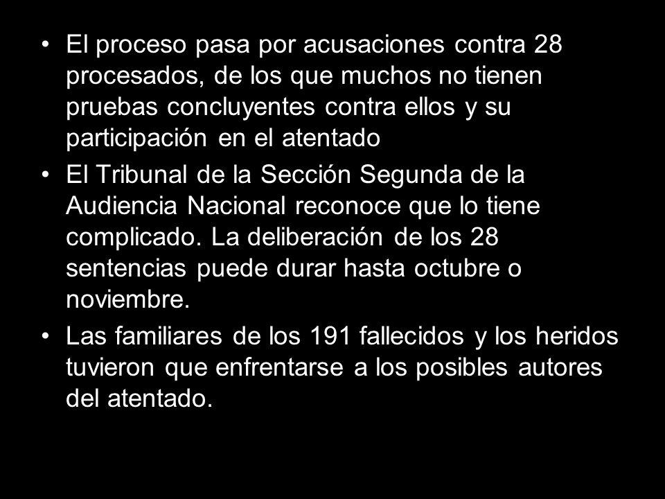 El proceso pasa por acusaciones contra 28 procesados, de los que muchos no tienen pruebas concluyentes contra ellos y su participación en el atentado