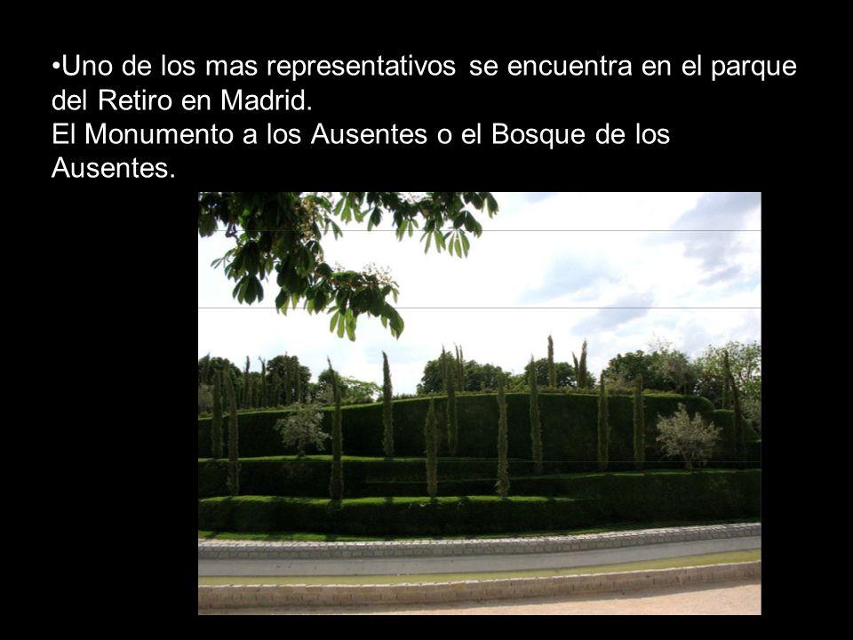 Uno de los mas representativos se encuentra en el parque del Retiro en Madrid. El Monumento a los Ausentes o el Bosque de los Ausentes.