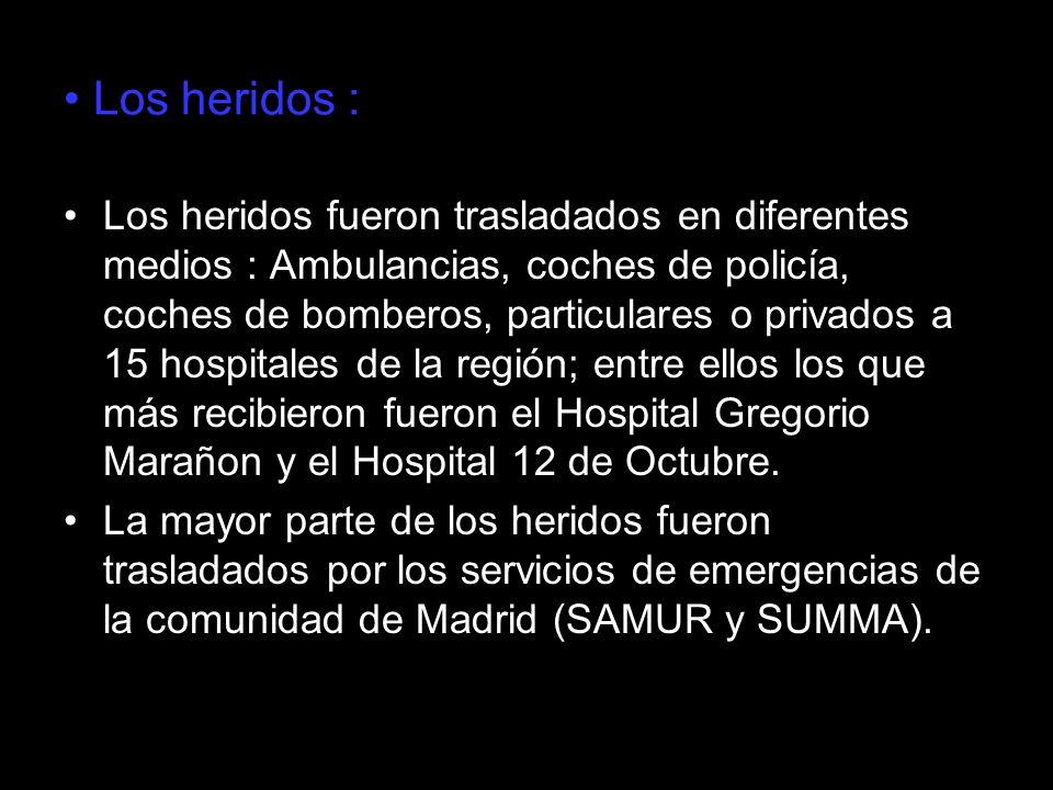 Los heridos : Los heridos fueron trasladados en diferentes medios : Ambulancias, coches de policía, coches de bomberos, particulares o privados a 15 h