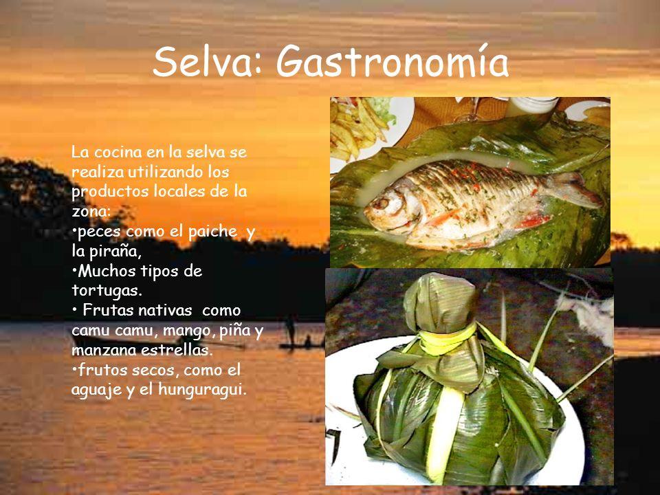 Selva: Gastronomía La cocina en la selva se realiza utilizando los productos locales de la zona: peces como el paiche y la piraña, Muchos tipos de tortugas.