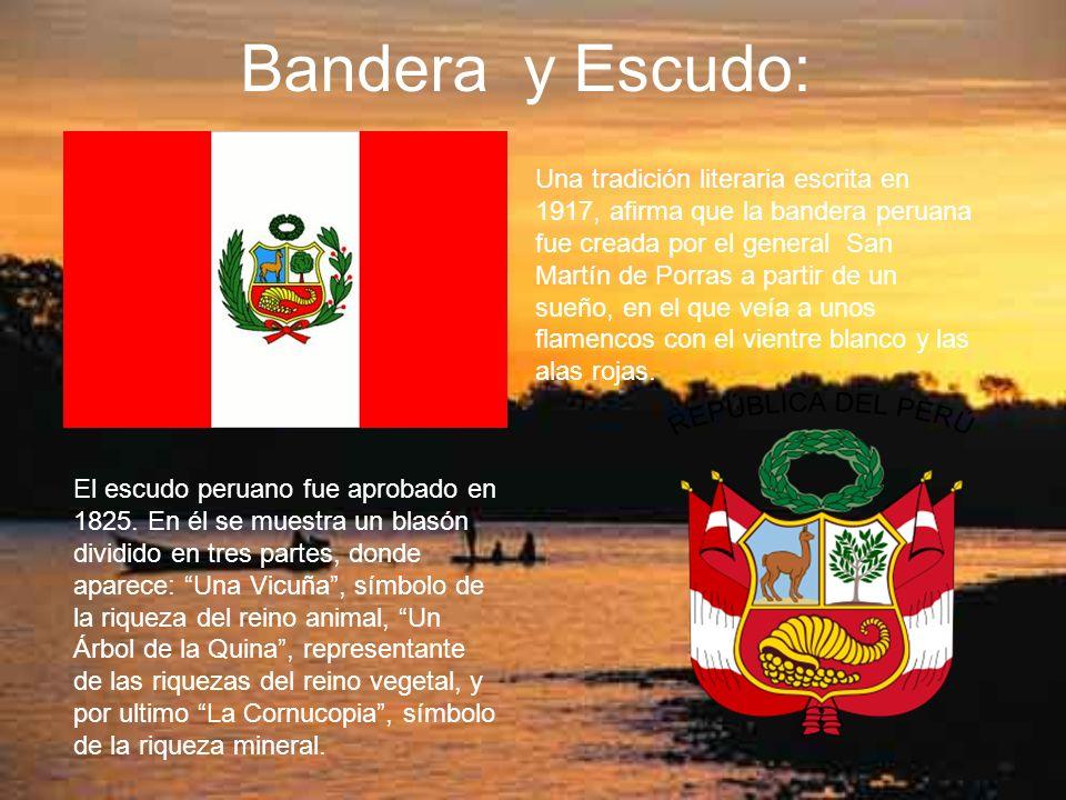 Bandera y Escudo: Una tradición literaria escrita en 1917, afirma que la bandera peruana fue creada por el general San Martín de Porras a partir de un sueño, en el que veía a unos flamencos con el vientre blanco y las alas rojas.