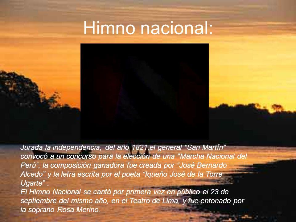 Himno nacional: Jurada la independencia, del año 1821,el general San Martín convocó a un concurso para la elección de una