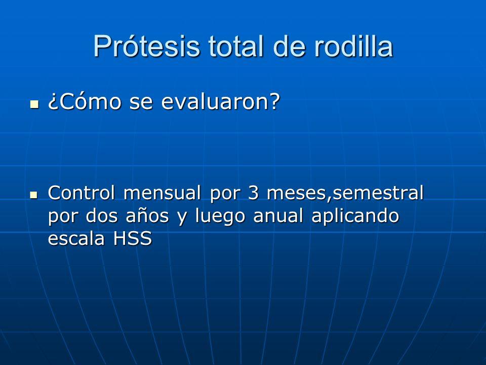 Prótesis total de rodilla ¿Cómo se evaluaron? ¿Cómo se evaluaron? Control mensual por 3 meses,semestral por dos años y luego anual aplicando escala HS