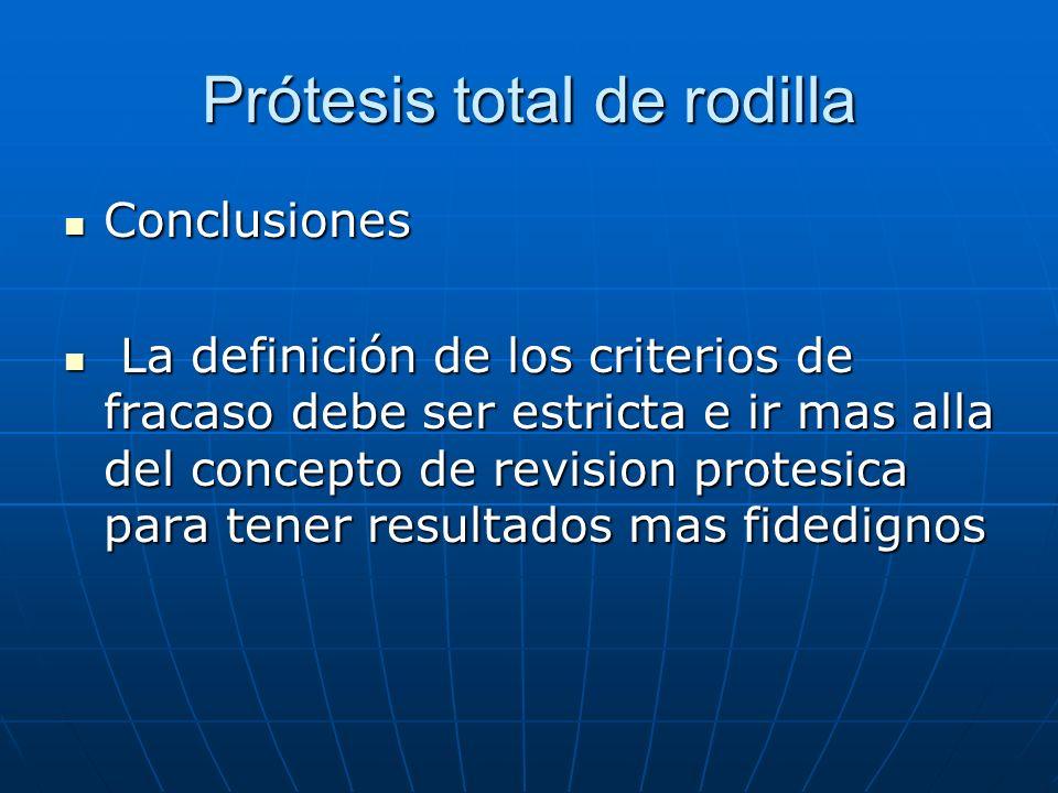 Prótesis total de rodilla Conclusiones Conclusiones La definición de los criterios de fracaso debe ser estricta e ir mas alla del concepto de revision