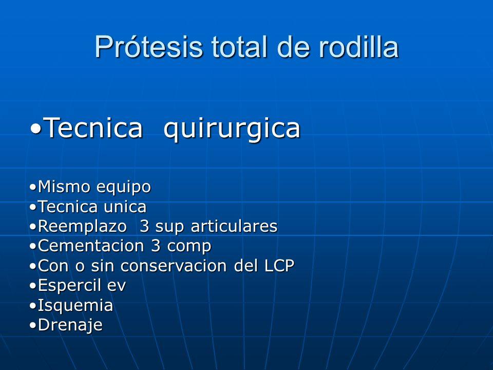 Prótesis total de rodilla Tecnica quirurgicaTecnica quirurgica Mismo equipoMismo equipo Tecnica unicaTecnica unica Reemplazo 3 sup articularesReemplaz