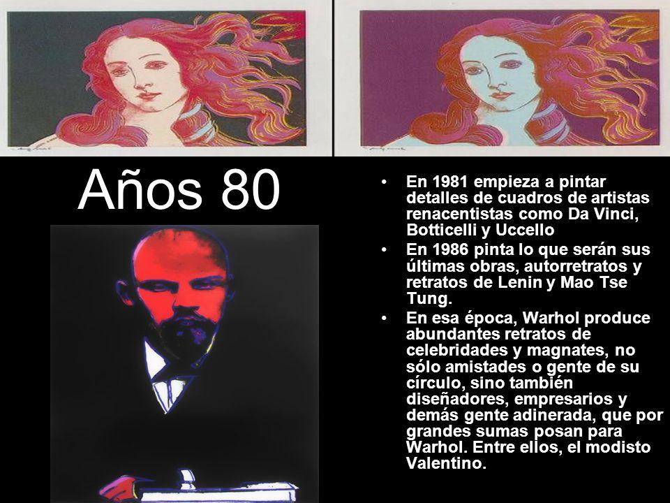 Años 80 En 1981 empieza a pintar detalles de cuadros de artistas renacentistas como Da Vinci, Botticelli y Uccello En 1986 pinta lo que serán sus últi