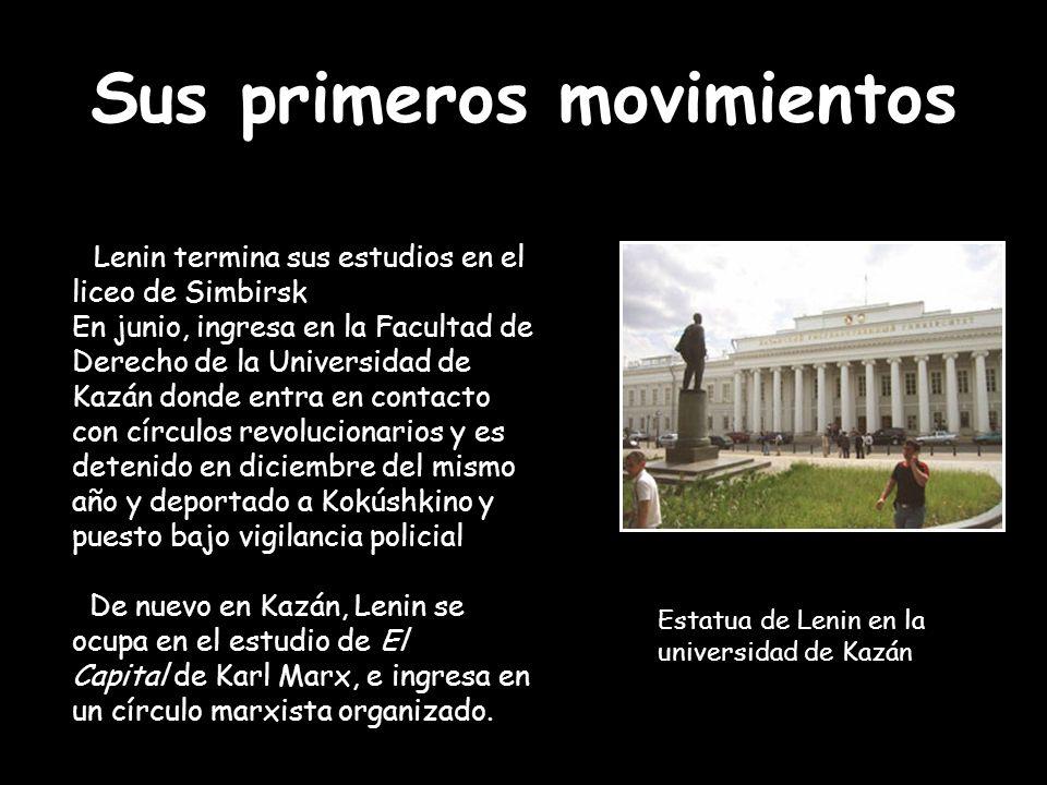 Sus primeros movimientos Lenin termina sus estudios en el liceo de Simbirsk En junio, ingresa en la Facultad de Derecho de la Universidad de Kazán don