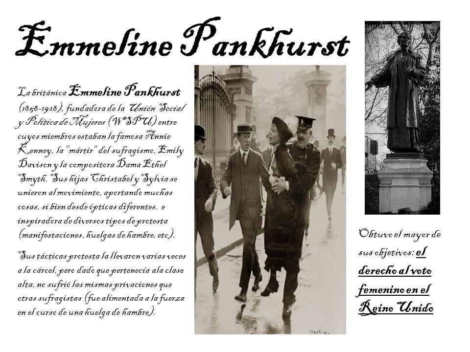 La británica Emmeline Pankhurst (1858-1928), fundadora de la Unión Social y Política de Mujeres (WSPU) entre cuyos miembros estaban la famosa Annie Ke