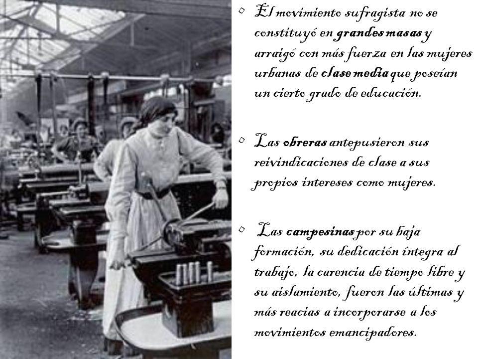 El movimiento sufragista no se constituyó en grandes masas y arraigó con más fuerza en las mujeres urbanas de clase media que poseían un cierto grado