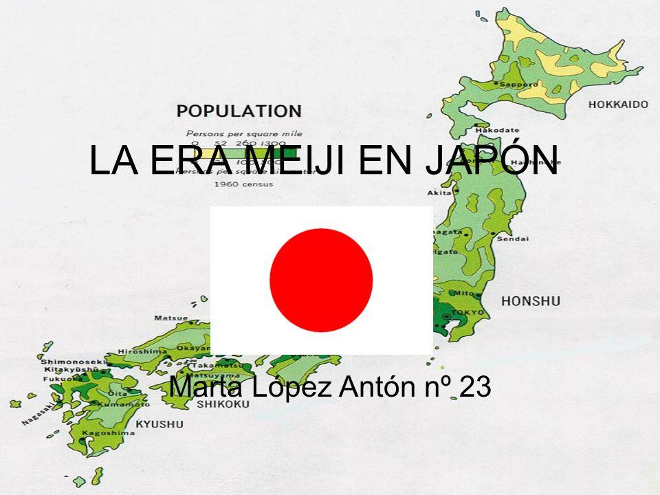 Introducción La era Meiji (1867-1912) ( Meiji jidai - era de culto a las reglas) o periodo Meiji denota los 45 años del reinado del emperador Meiji (nombre real Mutsuhito), reinado que en el Calendario gregoriano corresponde desde el 23 de octubre de 1868 hasta el 30 de julio de 1912.