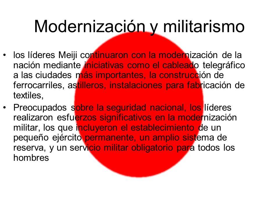 Modernización y militarismo los líderes Meiji continuaron con la modernización de la nación mediante iniciativas como el cableado telegráfico a las ci