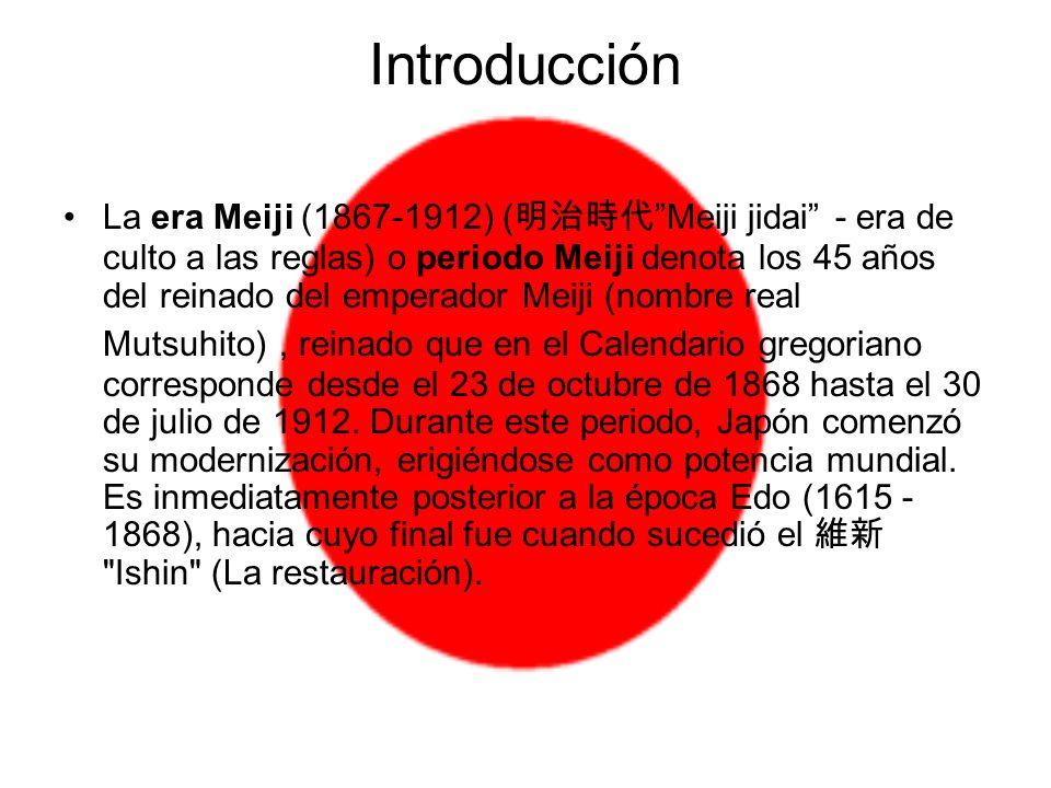Introducción La era Meiji (1867-1912) ( Meiji jidai - era de culto a las reglas) o periodo Meiji denota los 45 años del reinado del emperador Meiji (n