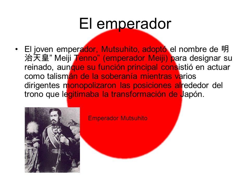 El emperador El joven emperador, Mutsuhito, adoptó el nombre de Meiji Tenno (emperador Meiji) para designar su reinado, aunque su función principal co
