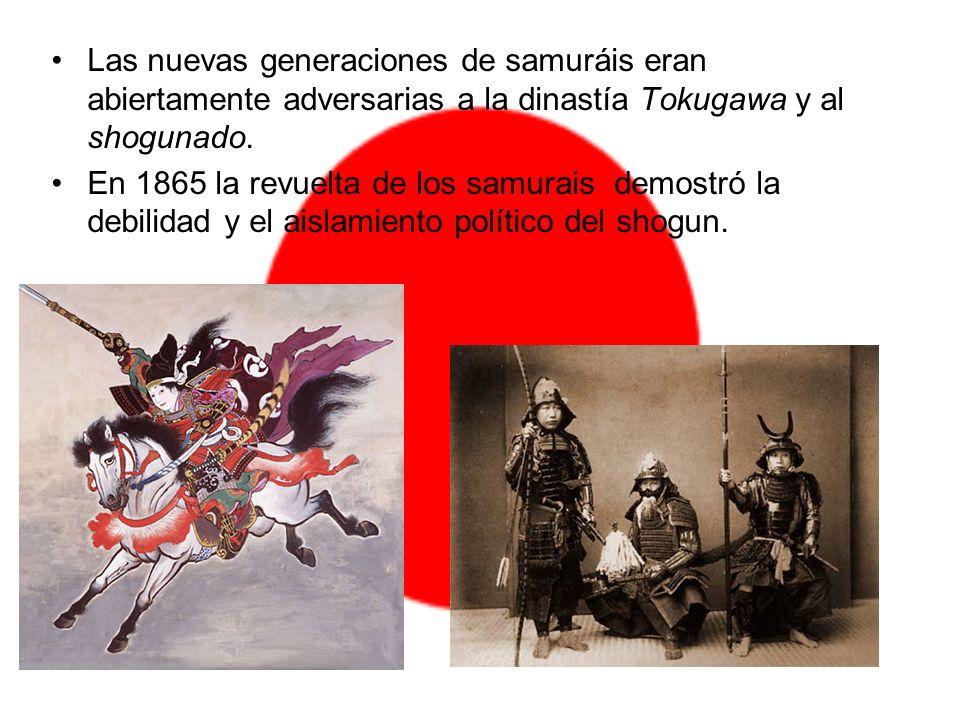 Las nuevas generaciones de samuráis eran abiertamente adversarias a la dinastía Tokugawa y al shogunado. En 1865 la revuelta de los samurais demostró