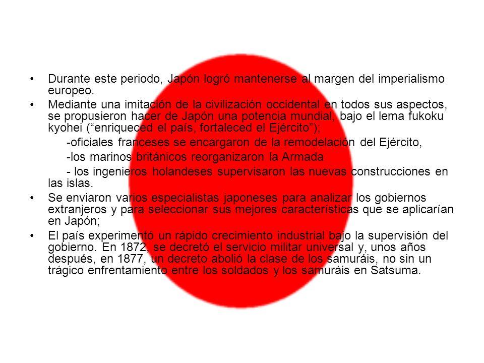 Durante este periodo, Japón logró mantenerse al margen del imperialismo europeo. Mediante una imitación de la civilización occidental en todos sus asp