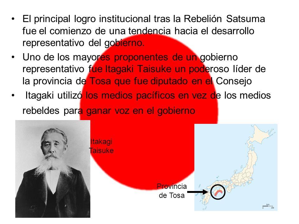 El principal logro institucional tras la Rebelión Satsuma fue el comienzo de una tendencia hacia el desarrollo representativo del gobierno. Uno de los
