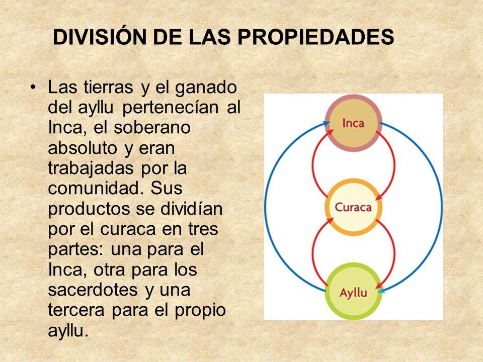 Las tierras y el ganado del ayllu pertenecían al Inca, el soberano absoluto y eran trabajadas por la comunidad. Sus productos se dividían por el curac