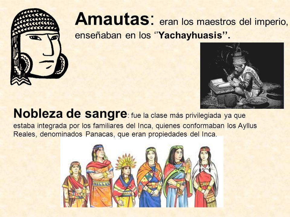Amautas: eran los maestros del imperio, enseñaban en los Yachayhuasis. Nobleza de sangre : fue la clase más privilegiada ya que estaba integrada por l