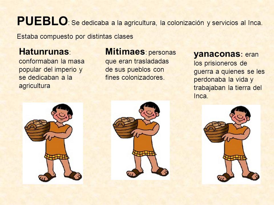 PUEBLO : Se dedicaba a la agricultura, la colonización y servicios al Inca. Estaba compuesto por distintas clases Hatunrunas : conformaban la masa pop
