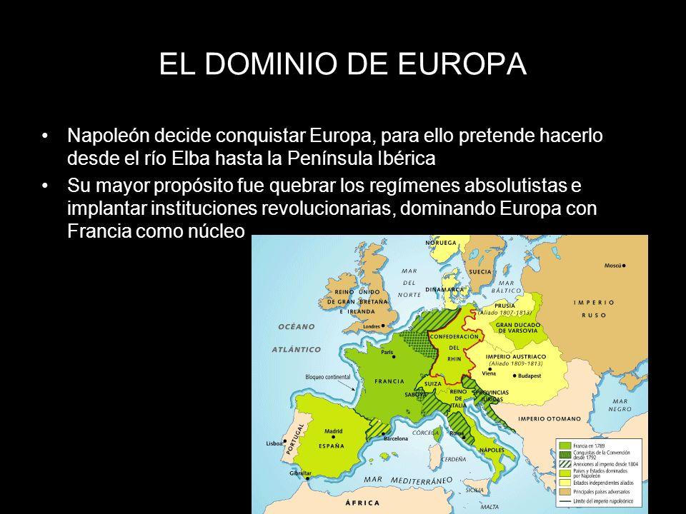 EL DOMINIO DE EUROPA Napoleón decide conquistar Europa, para ello pretende hacerlo desde el río Elba hasta la Península Ibérica Su mayor propósito fue