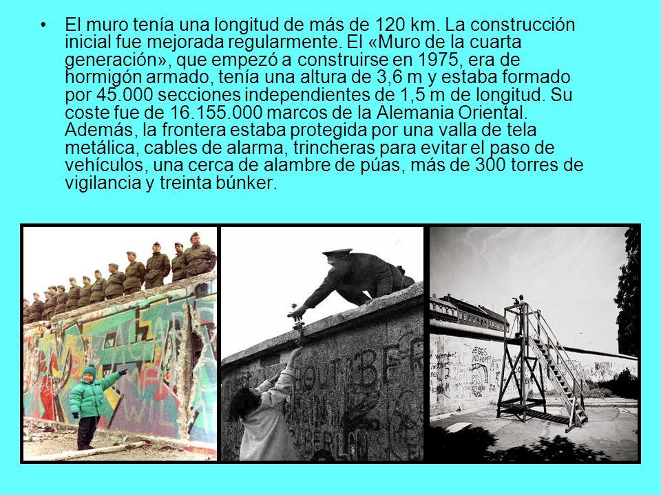 El muro tenía una longitud de más de 120 km. La construcción inicial fue mejorada regularmente. El «Muro de la cuarta generación», que empezó a constr