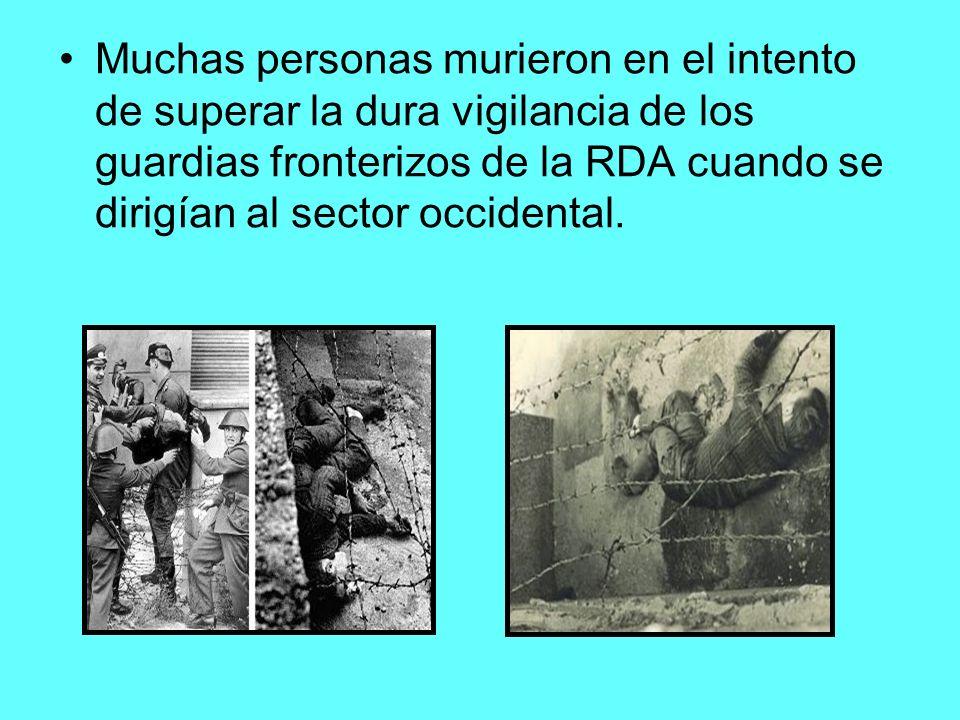 Muchas personas murieron en el intento de superar la dura vigilancia de los guardias fronterizos de la RDA cuando se dirigían al sector occidental.