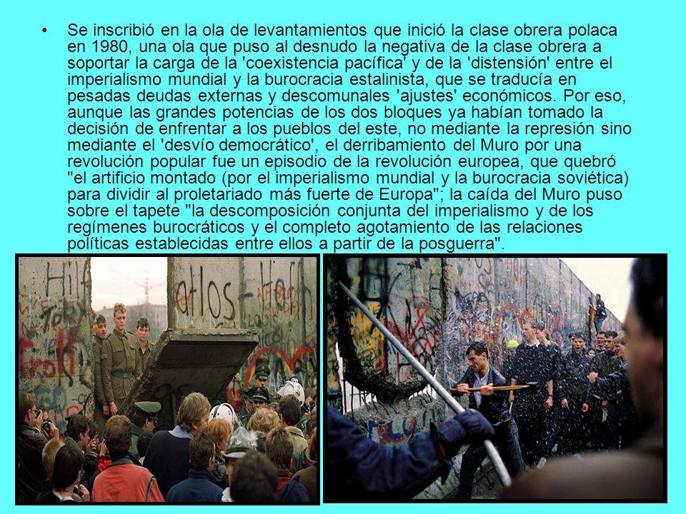 Se inscribió en la ola de levantamientos que inició la clase obrera polaca en 1980, una ola que puso al desnudo la negativa de la clase obrera a sopor