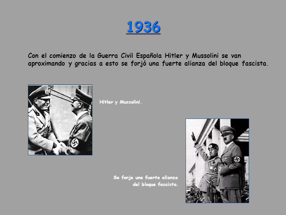 Con el comienzo de la Guerra Civil Española Hitler y Mussolini se van aproximando y gracias a esto se forjó una fuerte alianza del bloque fascista. Hi