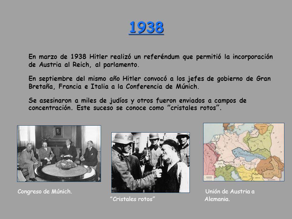 1938 En marzo de 1938 Hitler realizó un referéndum que permitió la incorporación de Austria al Reich, al parlamento. En septiembre del mismo año Hitle