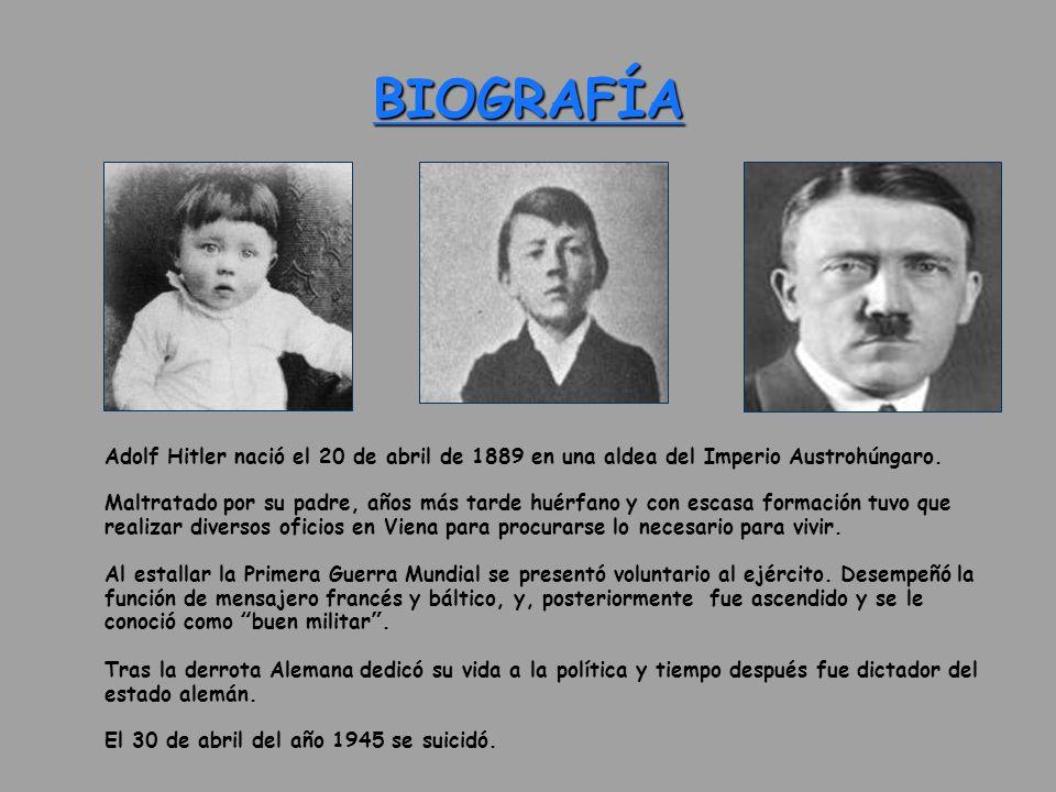 BIOGRAFÍA Adolf Hitler nació el 20 de abril de 1889 en una aldea del Imperio Austrohúngaro. Maltratado por su padre, años más tarde huérfano y con esc
