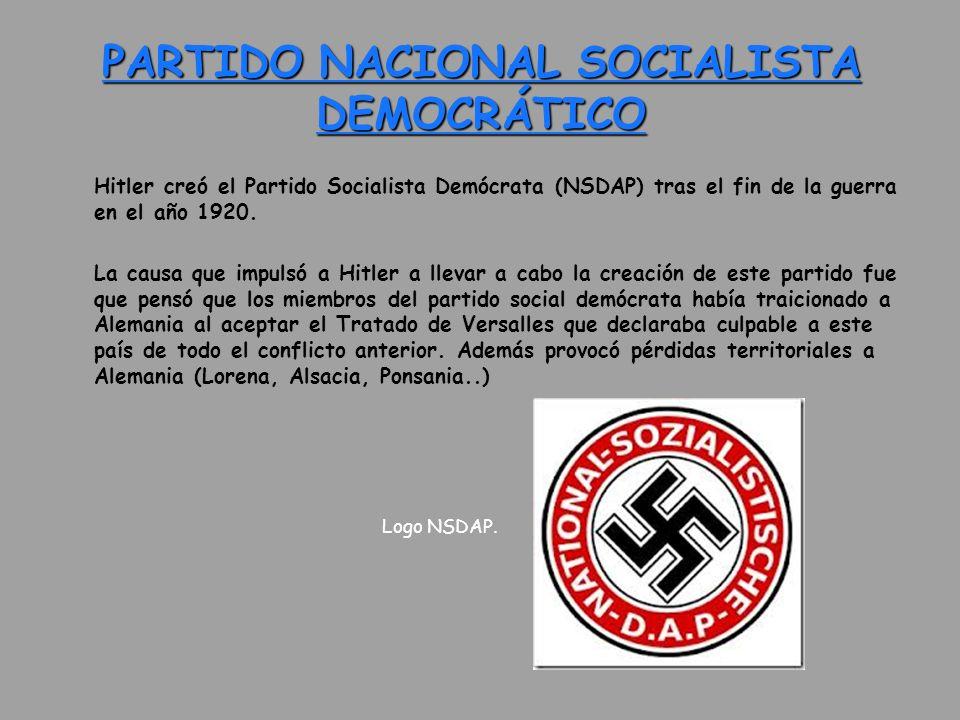 PARTIDO NACIONAL SOCIALISTA DEMOCRÁTICO Hitler creó el Partido Socialista Demócrata (NSDAP) tras el fin de la guerra en el año 1920. La causa que impu