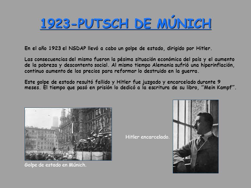 1923-PUTSCH DE MÚNICH En el año 1923 el NSDAP llevó a cabo un golpe de estado, dirigido por Hitler. Las consecuencias del mismo fueron la pésima situa