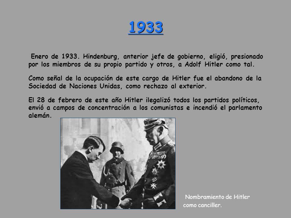 1933 Enero de 1933. Hindenburg, anterior jefe de gobierno, eligió, presionado por los miembros de su propio partido y otros, a Adolf Hitler como tal.